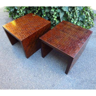 Pair Of Bouts Of Sofa In Palm Marquetry