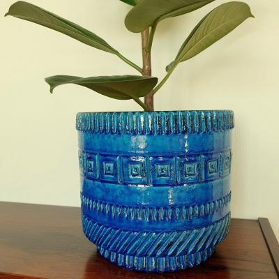 Cache-pot de POL CHAMBOST bleu vers 1960