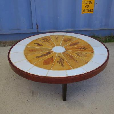 Roger Capron Coffee Table, Herbarium Model, Ceramic Around 1960