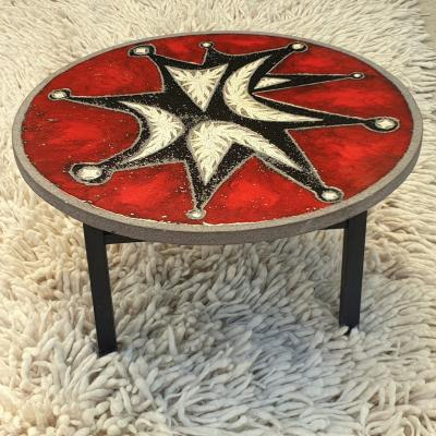 Enamelled Lava Stone Coffee Table, Attributed To Jean Jaffeux Circa 1950