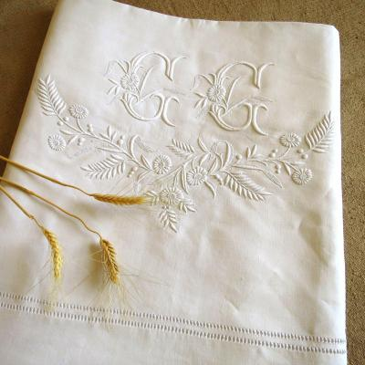 Old Embroidered Linen Thread Sheet, Monogrammed Gg, Late 19th Century, Early 20th Century