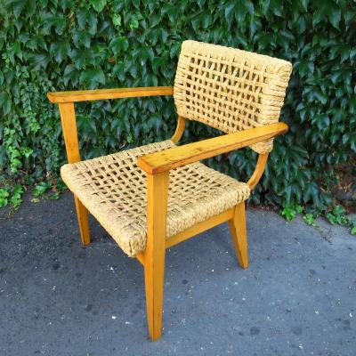 Bridge Armchair Audoux Minet In Rope And Beech, Early 1950