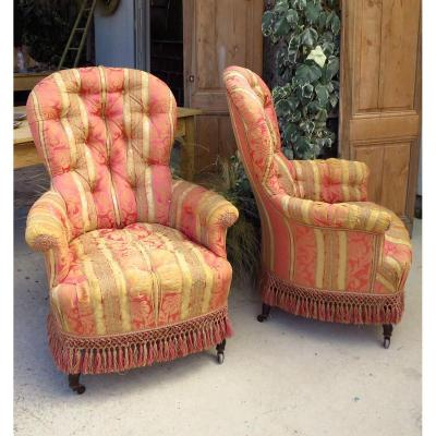 Pairs Of Napolèon III Upholstered Armchairs