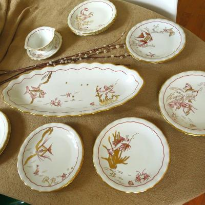Hand Decorated Limoges Porcelain Fish Service