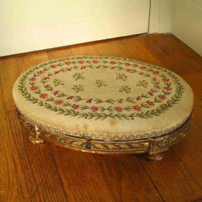 Louis XVI Style Hot Water Bottle Footrest, Au Petit Point Tapestry