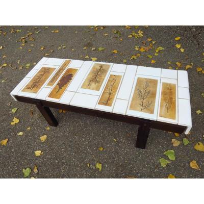 Roger Capron Coffee Table, Herbarium Model, Ceramic Circa 1960-1970