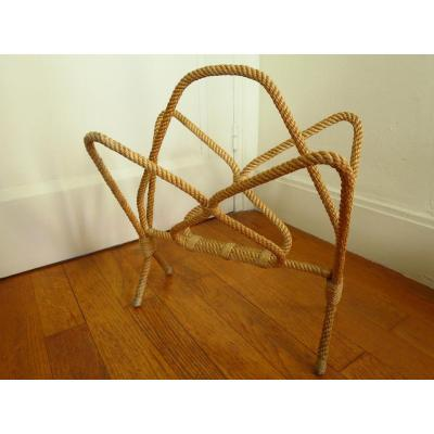 Rope Magazine Rack In The Taste Of Audoux-minet Circa 1950