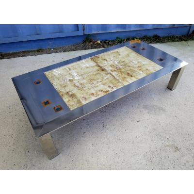 Gregorieff Stainless Steel And Ceramic Coffee Table Circa 1970