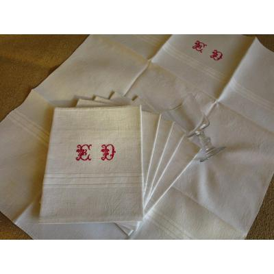 6 Large Glass Towels, Linen, Late 19th Century, French, Monogrammed Ed In Red