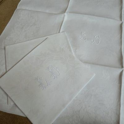 6 Old Monogrammed Damask Linen Napkins Ld End XIX °, Beginning XX °