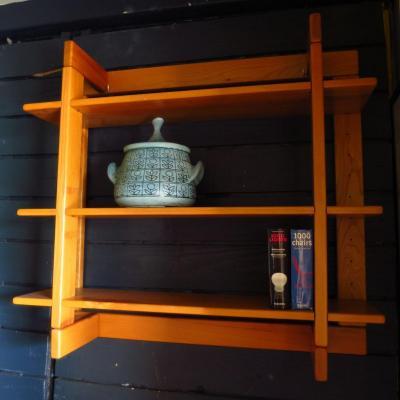 Shelf From Maison Regain In Solid Elm, 1980s
