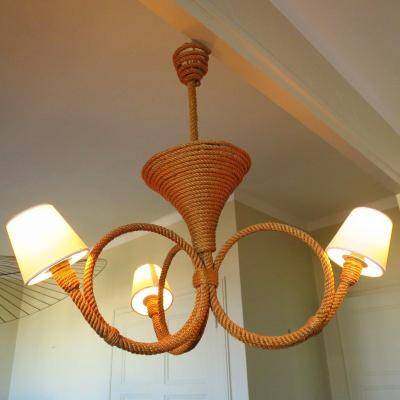 Rope Chandelier By Audoux Minet Circa 1950