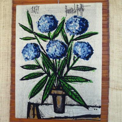 """Tapestry """"the Blue Hydrangeas"""" After Bernard Buffet, 1971"""
