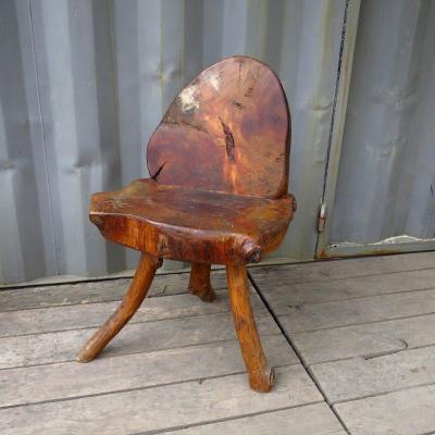 Brutalist Wooden Chair