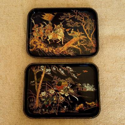 Paire de plateaux Napoléon III en carton bouilli aux chinois
