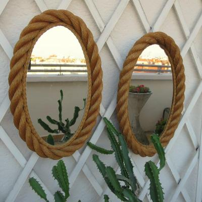 Audoux And Oval Twink Rope Mirrors, Circa 1960