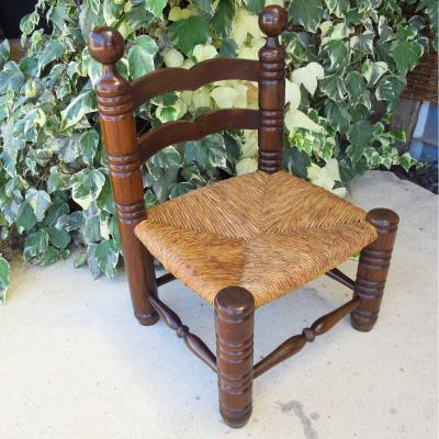 Low Straw Chair In The Taste Of Charles Dudouyt Around 1940