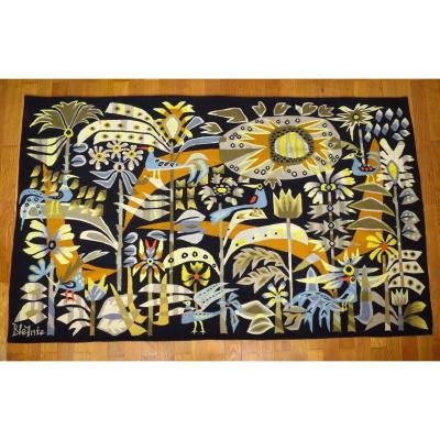 """Aubusson Tapestry By Claude Bleynie """"concerto"""" In The Jean Laurent Factory, 1976"""