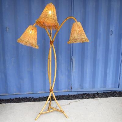 Lampadaire en rotin 3 lumières, 1960