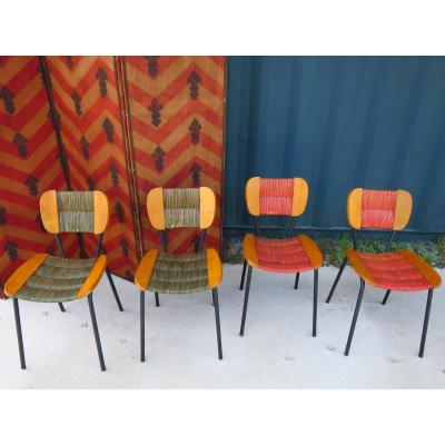 4 Green And Red Mulched Chairs, Circa 1950