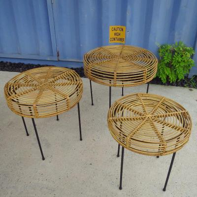 Rattan And Metal Nesting Tables Around 1950