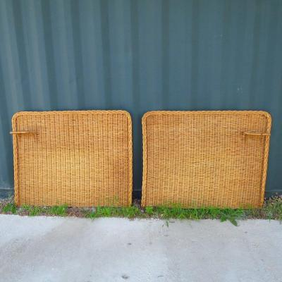 Pair Of Wicker Headboards, Circa 1960