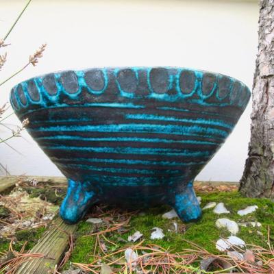 Turquoise Blue Ceramic Tripod Bowl, 1950