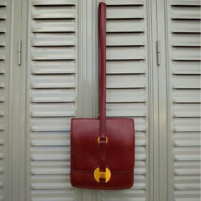 Hermès Paris Vintage Bag In Bordeau Leather Circa 1970
