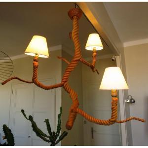 Lustre en corde dans le style d'Audoux Minet circa 1950