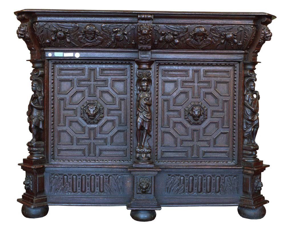 1600s German Buffet In Oak With Two Doors And A Drawer Under The Top-photo-2