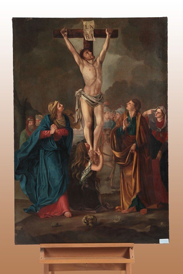 Oil On Italian Canvas From 1700 Representing The Crucifixion