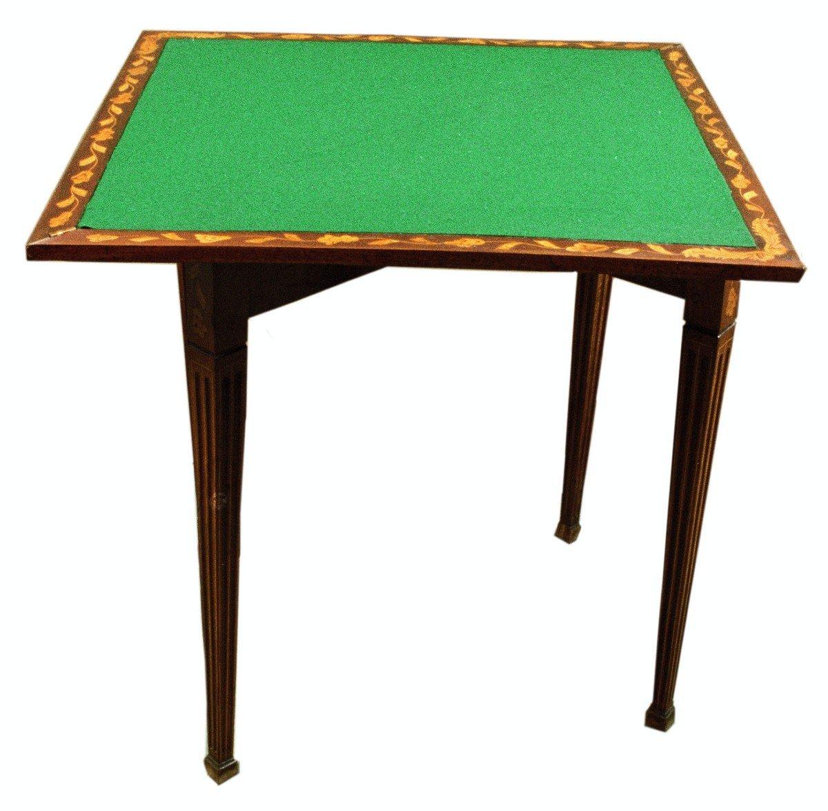 Table à Jeu Triangulaire Marquetée En Acajou Des Années 1800 Hollandaise-photo-2