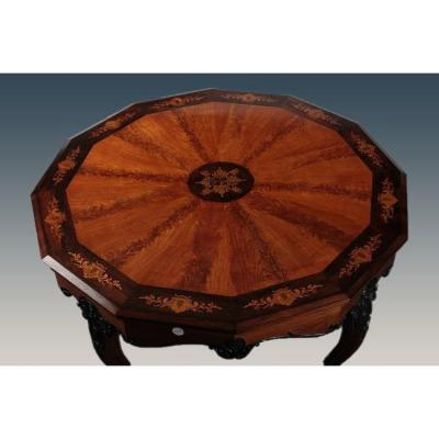 French Dodecagonal Table From The First Half Of The 1800s, Charles X Style