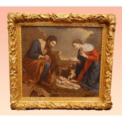 Italian Oil On Canvas From The Mid 1700s Representing The Nativity
