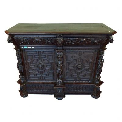 1600s German Buffet In Oak With Two Doors And A Drawer Under The Top