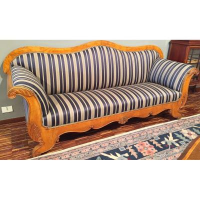 Large Swedish Boat Shaped Sofa In Birch From The 1800s