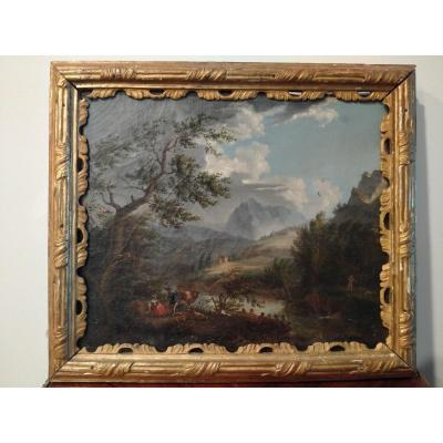 Italian Oil On Canvas From 1700 Representing A Mountain Landscape