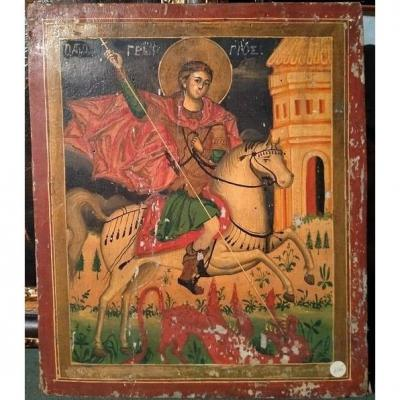 Early 1800s Eastern European Icon Depicting Saint George
