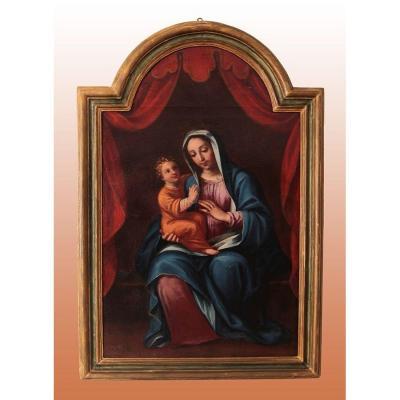 Huile Sur Toile Italienne De 1700 Représentant La Vierge à l'Enfant