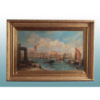 Magnifique Huile Sur Toile Italienne De 1800 Représentant Venise
