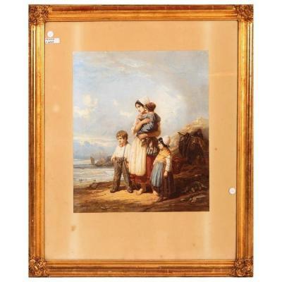 estampe aquarelle Française Des Années 1800