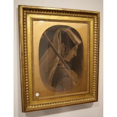 Pastel Des Années 1800 Représentant Une Femme - Signé(e)