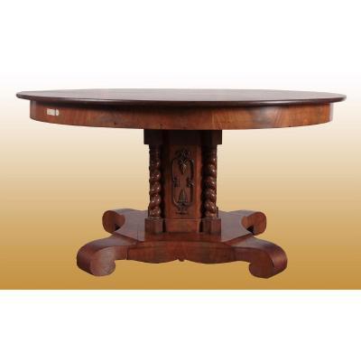 Table Circulaire Extensible En Acajou Des Années 1800, Style Carlo X