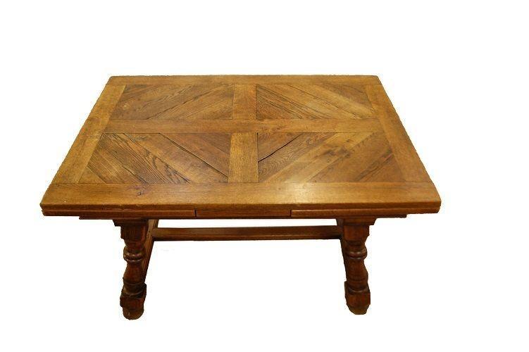 Table De Style Rustique Français Des Années 1800 En Chêne-photo-2