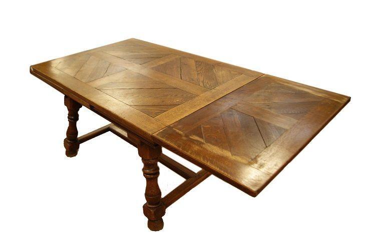 Table De Style Rustique Français Des Années 1800 En Chêne-photo-3