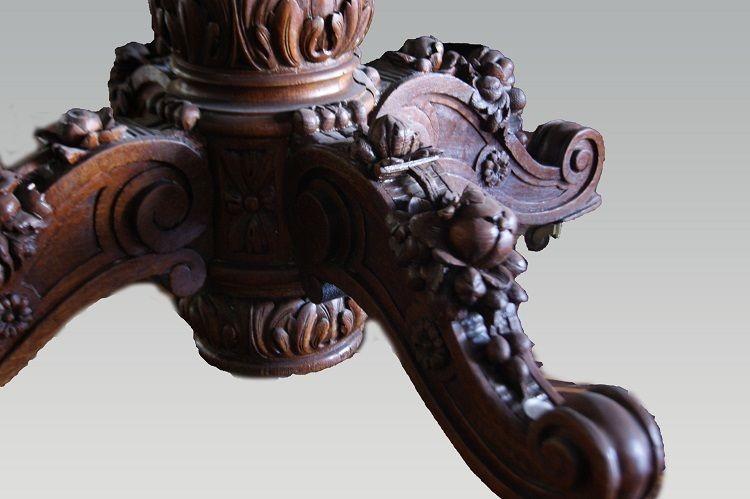 Table à Rallonges De Style Louis Philippe En Chêne-photo-3