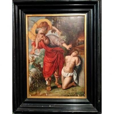 Italian Oil On Panel From The 1500s Sacrifice Of Isaac