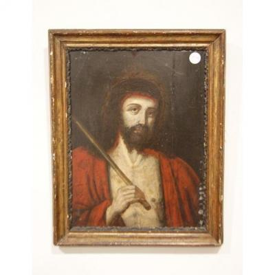 Oil On Panel From 1600 French Representing Jesus Christ