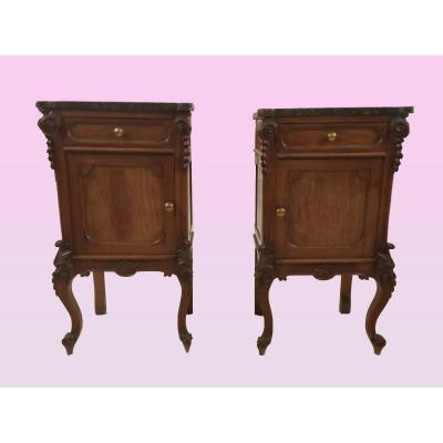 Pair Of Italian Louis Philippe Style Bedside Tables From The 1800s