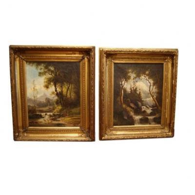 Pair Of Wood Landscape Paintings